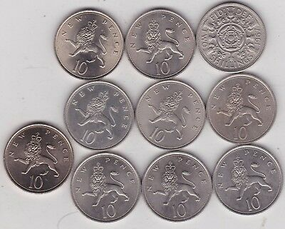 A Date Run Of Ten Large 10 Pence Coins From 1967 To 1977 In Near Mint Condition