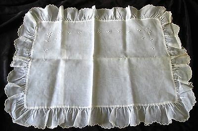 "lovely antique white cotton batiste boudoir pillowcase ""Handmade in Philippines"