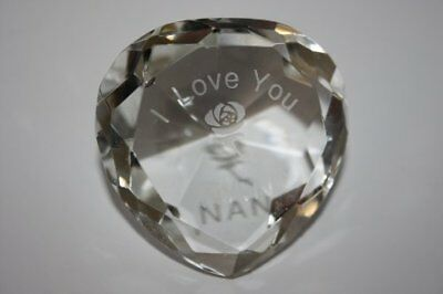 """Engraved Clear Crystal Heart, """"I Love You Nan"""" With Engraved Rose; Crystal"""