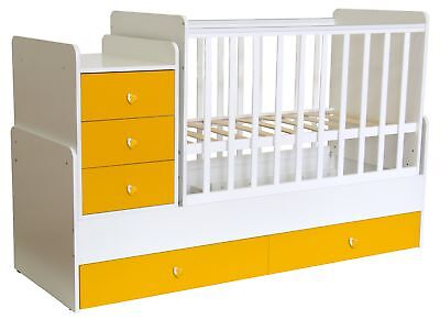 Polini Kids Kombi-Kinderbett Simple 1100 mit Kommode weiß-gelb,1227.18