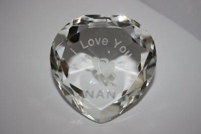 """Engraved Clear Crystal Heart, """"I Love You Nan"""" With Engraved Double Hearts;"""