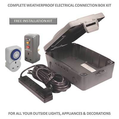 XL Weatherproof IP54 Junction Connection Box for Xmas Halloween Lights Ponds etc