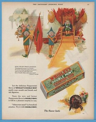 1928 Wrigley's Double Mint gum Thanksgiving King Spear art vintage print ad