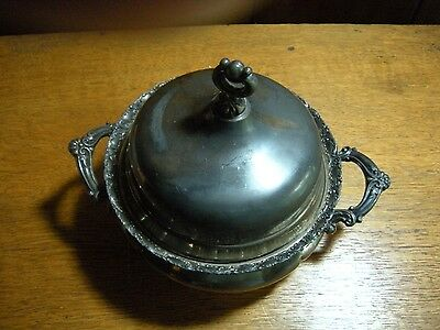 Antique Forbes  Quadruple Silver Plate Covered Butter Bowl Dish