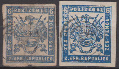 Transvaal 1870's Used 6d Blue x 2 SG ???