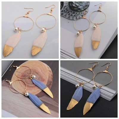 Women's Vintage Bohemian Style Feathers Long Design Dream Charm Fashion Earrings