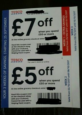 Tesco Clubcard Discount Coupons £17 off £50 Over 3 Vouchers  INSTORE/ONLINE