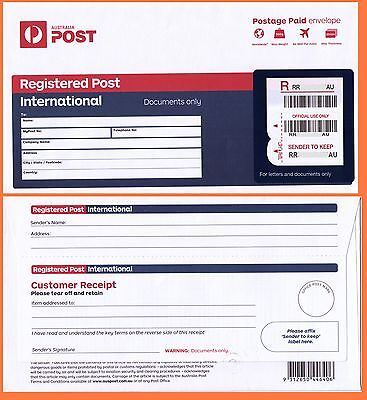 Australia Post International Registered Prepaid Envelope