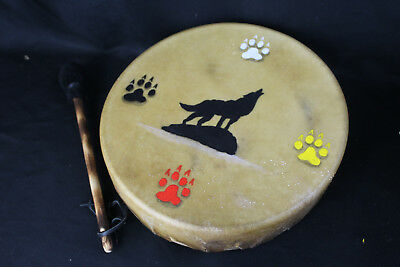 Hand Made Native American Ceremonial Drum w/Wolf Painted Rawhide Head & Beater