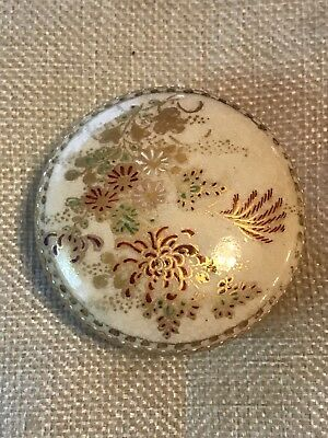 Antique Satsuma Round Trinket Box Signed