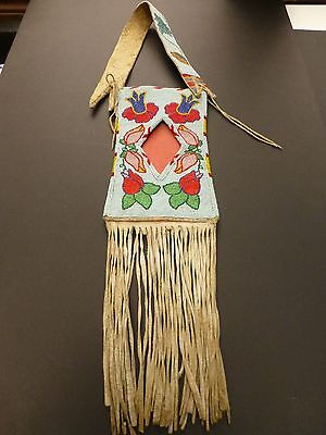 Crow Nez Perce  Plateau Native American Indian Beaded Mirror  Bag Late 1800 #5