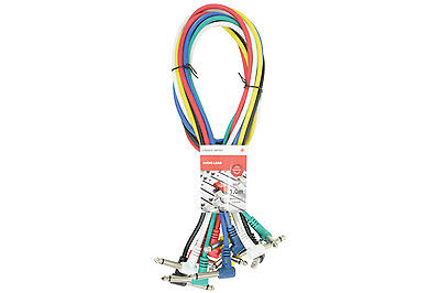 Audio Patch Leads Pack of 6 x 1m Guitar Patch Leads Coloured