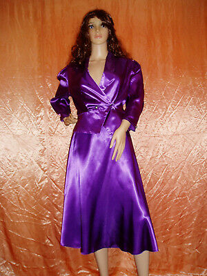 80s purple liquid satin acetate skirt suit size 12