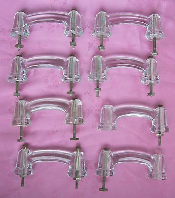 8 Vintage Clear Glass Door Pulls/Knobs~Kitchen Cabinet Hardware~Dresser Handles