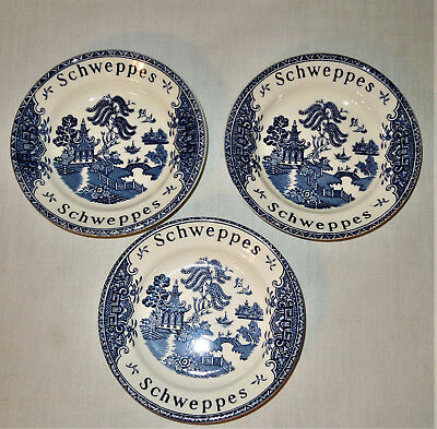 "3 Vintage SCHWEPPES 4 3/4"" Bowl WEDGEWOOD BLUE WILLOW Advertising TIP DISH"