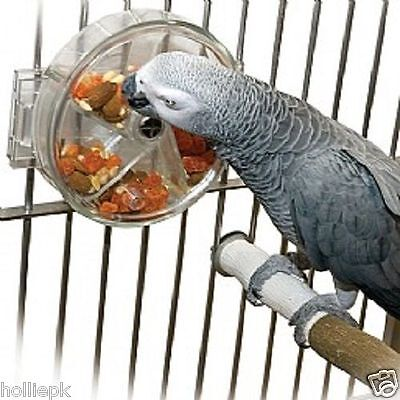 Acrylic Parrot Bird Interactive Foraging Wheel Toy African Grey Hooks To Cage