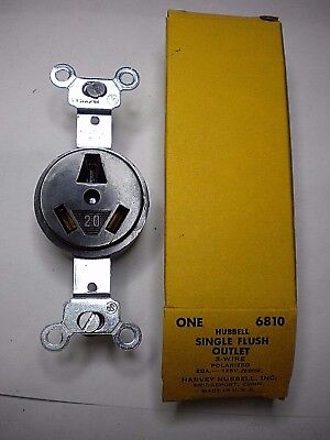 New Hubbell 6810 Single Flush Outlet Polarized 3 Wire 20A 125/250V
