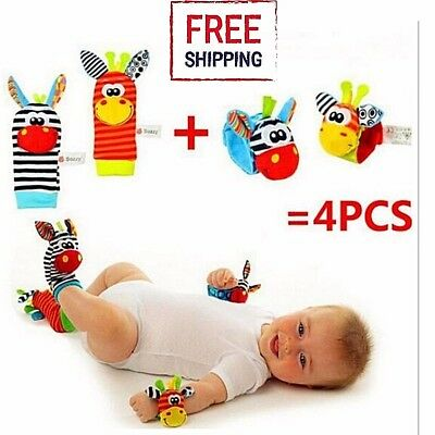 4pcs Soft Toy set Cute Animal Infant Baby Kids Hand Wrist Bell Foot Sock Rattles