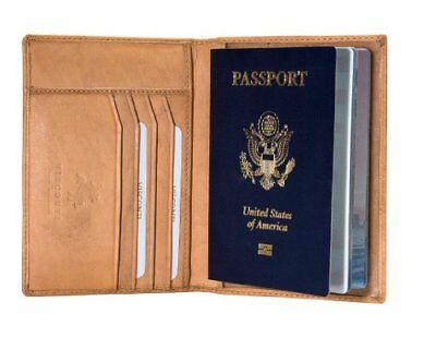 Visconti 2201 Sand Tan Soft Leather Passport Cover Case Holder ID Travel Wallet
