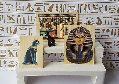 EGYPTIAN cat ornament papyrus pictures 1:12th scale dolls house miniature egypt