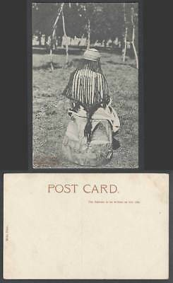 India Old Postcard Back of Boatman's Daughter How Unmarried Girls do Their Hair