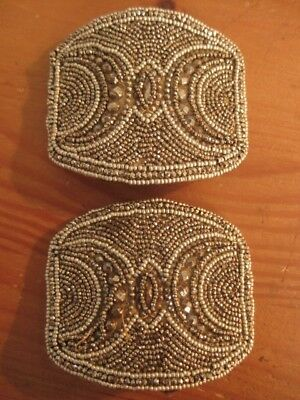 Antique Victorian Cut Steel Bead Shoe Buckles  Made  In  France