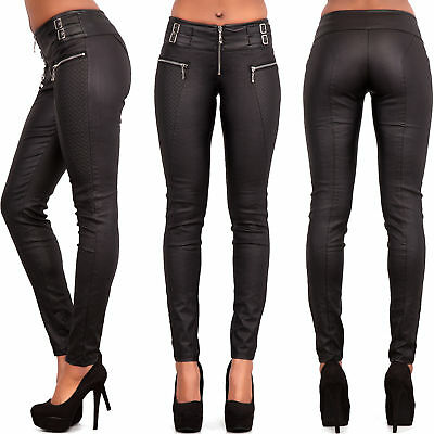 Ladies Women Leather Look Wet Look Trousers Slim Fit Jeans Size 6-12