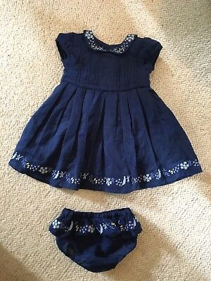 M&S Baby Girl Navy Dress 6-9 Months Matching Knickers Marks And Spencer