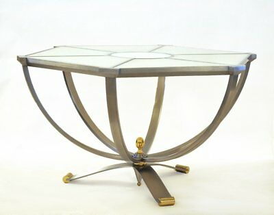 Important hexagonal art deco style table stainless and onyx