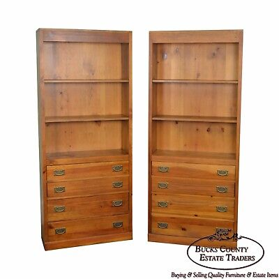 Pair of Pine Open Bookcases w/ Drawers