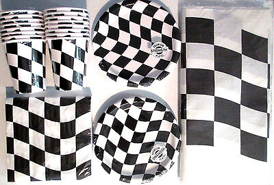 Black & White Checkered Flag Racing Birthday Party Supply Kit Set for 16