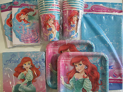 LITTLE MERMAID SPARKLE - Disney Birthday Party Supply Set Pack w/ Invitations