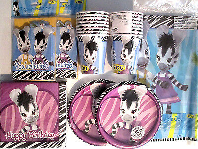 ZOU Zebra Party Girl  - Birthday Party Supplies Set Pack Kit 16  w/ Invitations