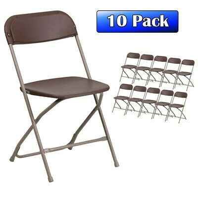 Heavy Duty Brown Plastic Folding Chair 10 Pack Commercial Wedding Party Chairs