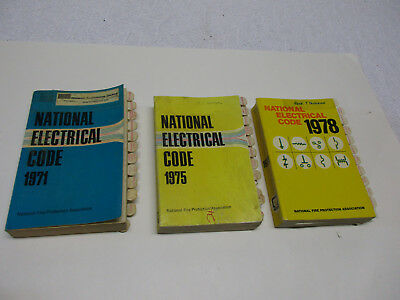 Lot of 3 NEC Books - 1971, 1975, 1978 National Electric Code