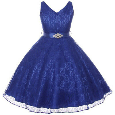 ROYAL BLUE Flower Girl Dress Dance Wedding Party Birthday Gown Recital Formal