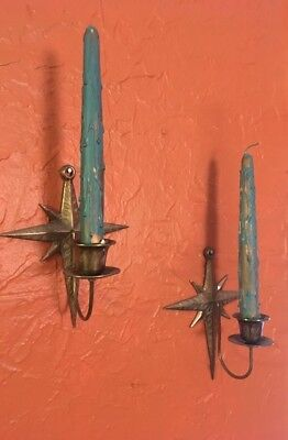 Pair Vintage Atomic Starburst Brass Wall Sconces Candle Mid Century Modern