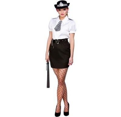 Adults Ladies WPC Police Uniform With Hat Costume Fancy Dress Size 14-16 UK