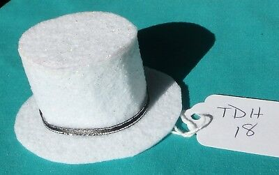 White Felt Top Hat w Black & Silver Band for Todd or Stacie Barbie Dolls TDH18