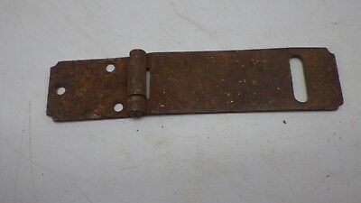 "Vintage Antique 6 1/2"" Hinged Hasp Latch Lock Gate Door Barn Chippie Rusty #4"