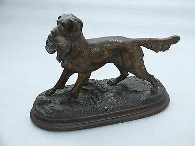 Signed JULES MOIGNIEZ. French Bronze statue of a Hunting Dog with Pheasant.
