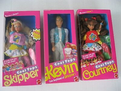 Cool Tops Skipper, Courtney, & Kevin Dolls 1989-Lot of 3-New