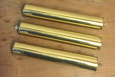 """3 Longcase Grandfather / Grandmother Clock Brass Covered Weights  9""""l 2""""d"""