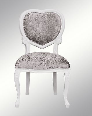 French ,  Louis XV, Crushed  Silver velvet,  Heart Chair