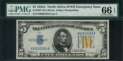 1934A $5 North Africa WWII Emergency Issue FR-2307 - PMG 66 EPQ - Gem Unc.