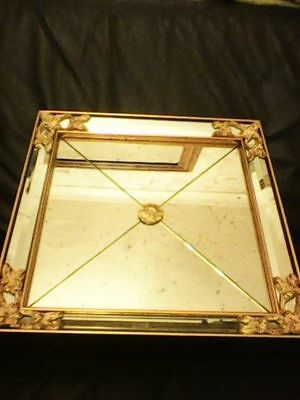 Large Distressed Mirror 41Cm Squared Gold Framed Mirror