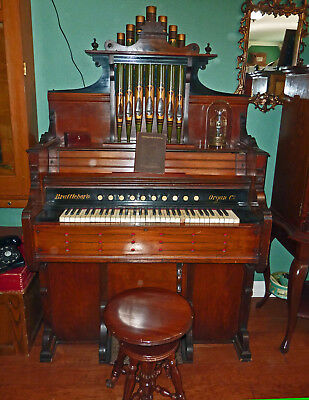 Early Brattleboro Organ Company Reed Organ c1885 with Pipe Top