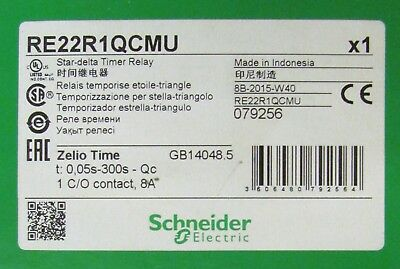 SCHNEIDER ELECTRIC RE22R1QCMU Star Delta Timing Relay Timer .05-300 Second