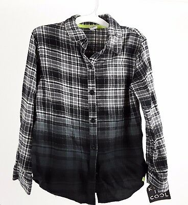 Boys Long Sleeve Plaid Shirt Black White Gray by Kind is Cool size S Small