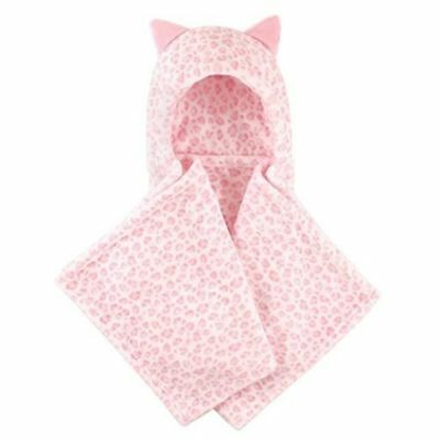 Hudson Baby Girls Plush Pink Leopard Hooded Blanket with Animal Ears Super Soft